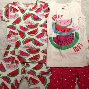 Carter's Shorts/Tanks Watermelon Pajamas Size 7